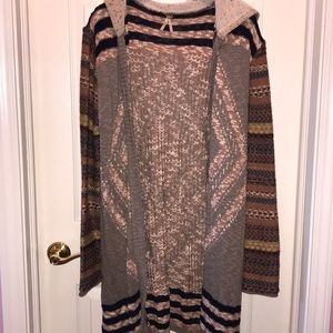 Multi pattered long cardigan